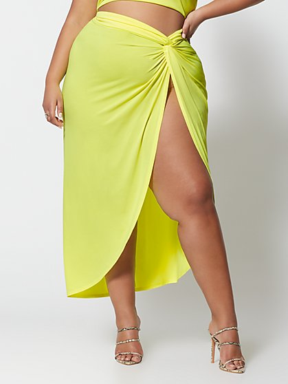 Plus Size Kya Neon Front Slit Maxi Skirt - Fashion To Figure