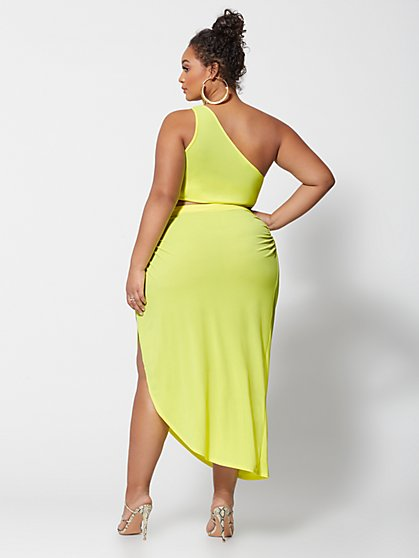 358e90fd44 ... Plus Size Kya Neon One Shoulder Crop Top - Fashion To Figure ...