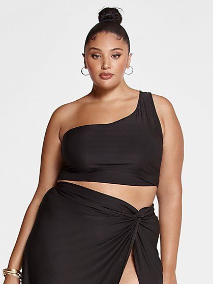 Plus Size Kya One Shoulder Crop Top - Fashion To Figure