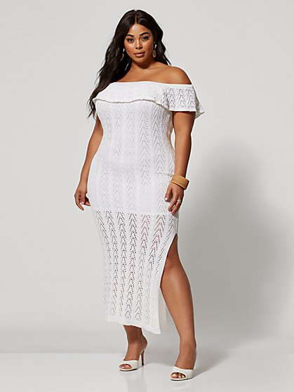 Plus Size Kylee Off Shoulder Crochet Dress - Fashion To Figure