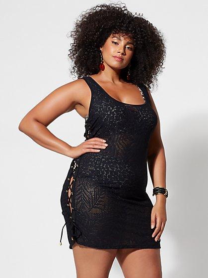 Plus Size Kylie Lace-Up Detail Cover-Up - Fashion To Figure