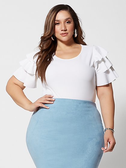 Plus Size Kyrie Ruffle-Sleeve Top - Fashion To Figure