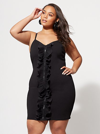 Plus Size LaWanna Zip-Front Bodycon Dress - Fashion To Figure