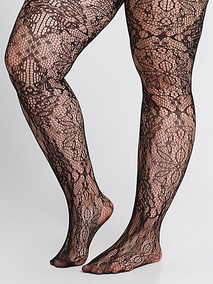Plus Size Lace Black Tights - Fashion To Figure