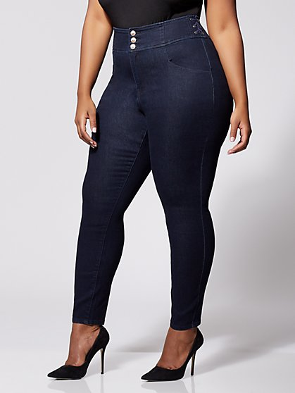 Plus Size Lace-Up High-Rise Skinny Jeans - Fashion To Figure