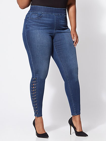 Plus Size Lace-Up Jeggings - Fashion To Figure