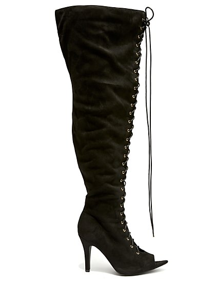 Plus Size Laced Up - Black Thigh High Boots - Fashion To Figure