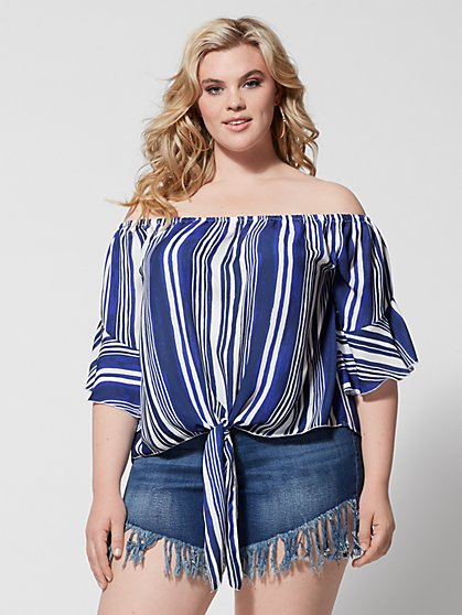 Plus Size Lacie Off Shoulder Stripe Tie Top - Fashion To Figure