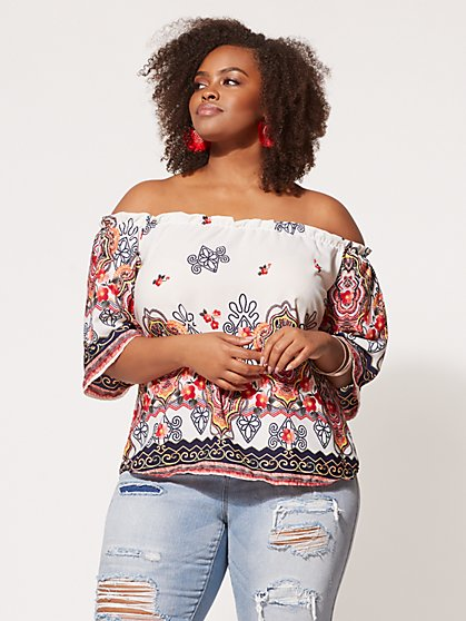 Plus Size Laila Embroidered Print Top - Fashion To Figure