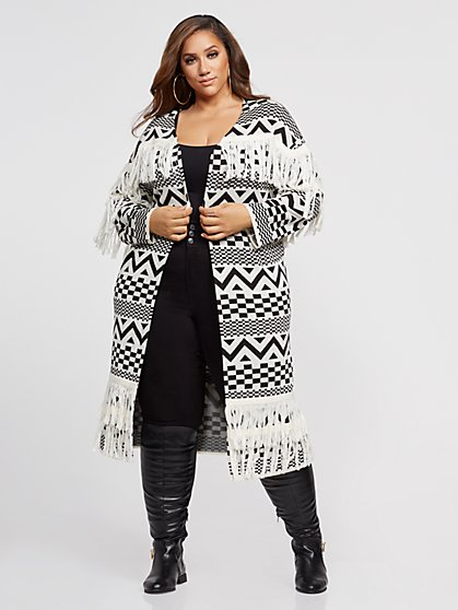 Plus Size Laina Fringe Open Cardigan - Fashion To Figure