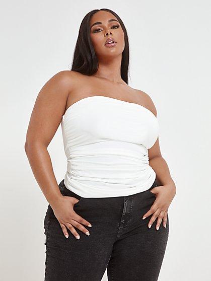 Plus Size Lala Side Ruched Tube Top - Fashion To Figure
