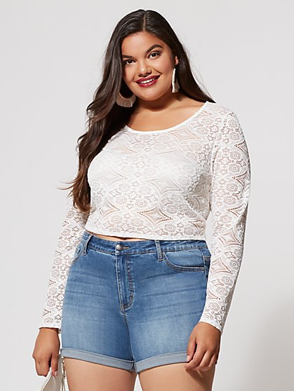 Plus Size Lana Lace Crop Top - Fashion To Figure