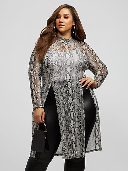 Plus Size Lana Snake Print Mesh Tunic - Fashion To Figure