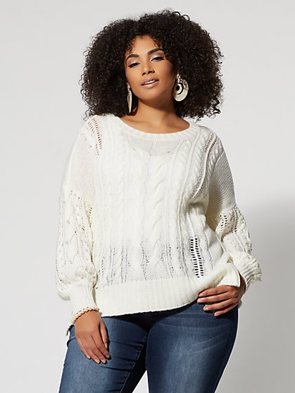 Plus Size Lantern-Sleeve Cable Knit Sweater - Fashion To Figure