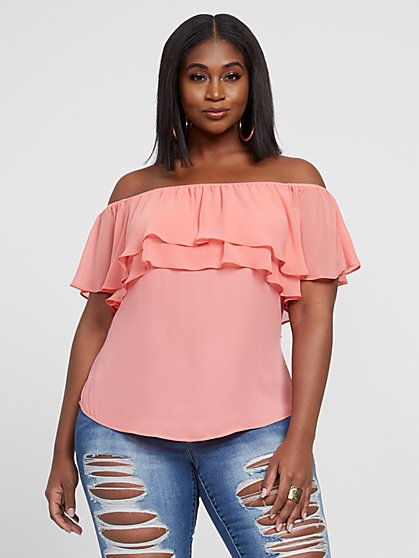 Plus Size Lara Off The Shoulder Ruffle Top - Fashion To Figure