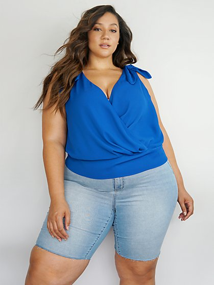 Plus Size Lara Tie Shoulder Surplice Top - Fashion To Figure