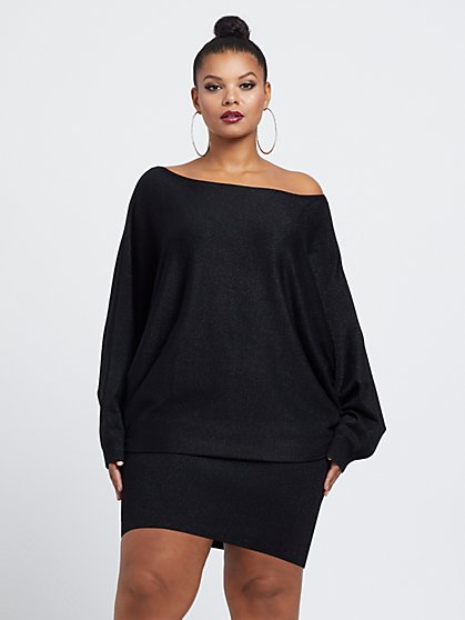 Plus Size Larina Dolman Sleeve Sweater Dress - Fashion To Figure