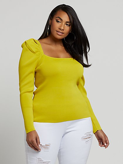 Plus Size Larisa Puff Sleeve Sweater - Fashion To Figure
