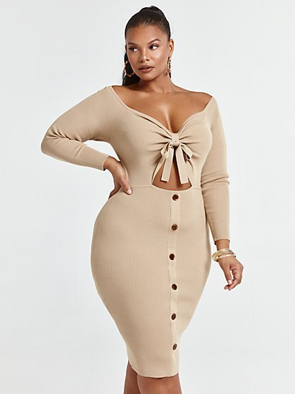 Plus Size Larissa Tie Front Cutout Sweater Dress - Fashion To Figure