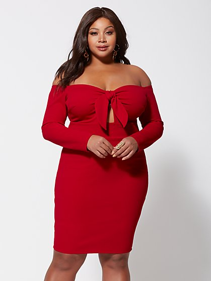 Plus Size Latasha Tie-Front Bodycon Dress - Fashion To Figure