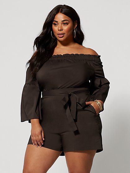 Plus Size Latoya Off Shoulder Romper - Fashion To Figure