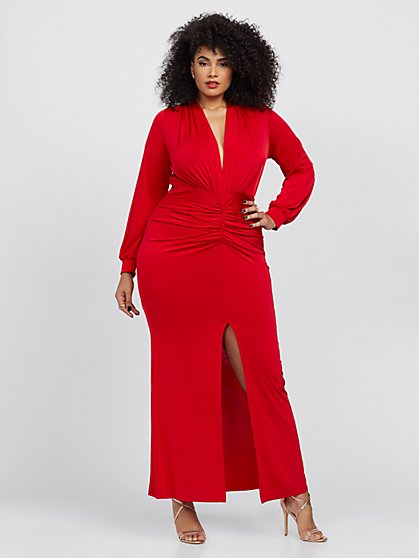 Plus Size Lauryn Ruched Maxi Dress - Fashion To Figure