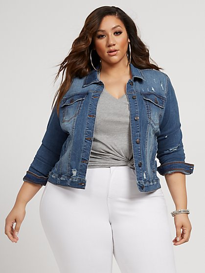 Plus Size Layla Basic Destructed Denim Trucker Jacket - Fashion To Figure