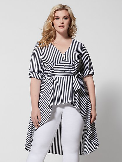 Plus Size Layla Stripe Hi-Lo Bow Blouse - Fashion To Figure