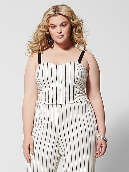 Plus Size Lea Striped Crop Tank Top - Fashion To Figure
