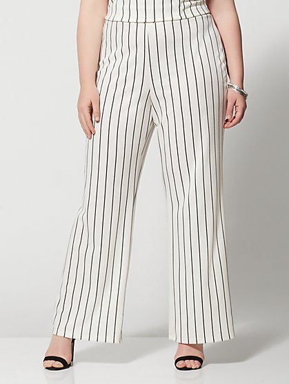 Plus Size Lea Striped Flare Pants - Fashion To Figure