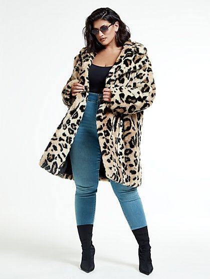 Plus Size Leandra Leopard Faux Fur Coat - Fashion To Figure