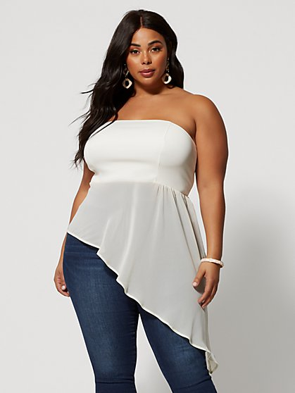 Plus Size Lehana Asymmetric Tube Top - Fashion To Figure