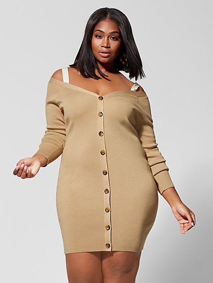 d8a574607d4 Plus Size Leigh Cold-Shoulder Sweater Dress - Fashion To Figure ...