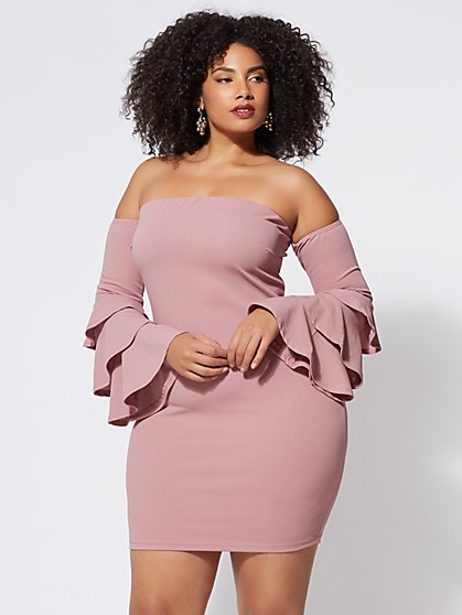 Plus Size Leilah Bell-Sleeve Dress - Fashion To Figure