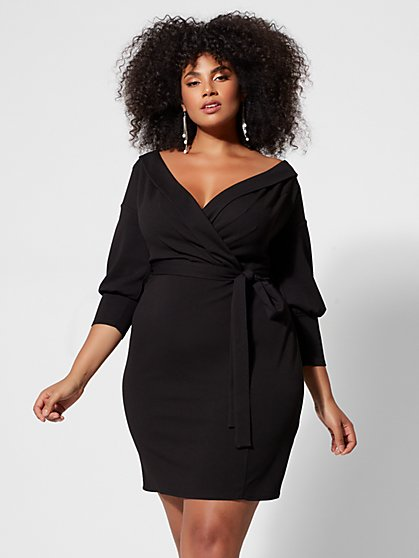 Plus Size Lena Off-Shoulder Belted Bodycon Dress - Fashion To Figure