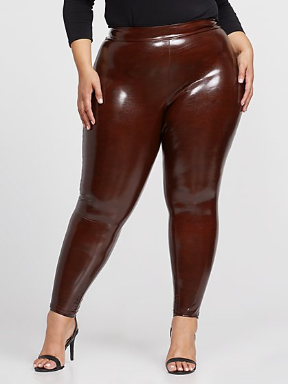 Plus Size Leona Faux-Snake Leggings - Fashion To Figure