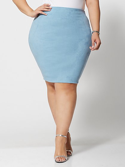 7ed332df9b Plus Size Leona Faux-Suede Pencil Skirt - Fashion To Figure ...