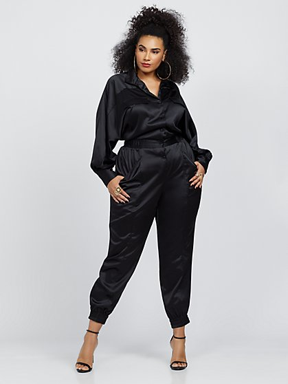 Plus Size Leona Satin Utlility Jumpsuit - Fashion To Figure