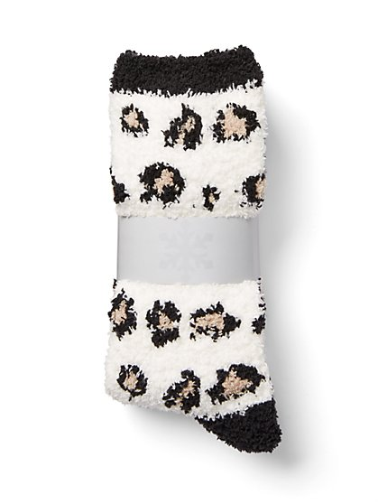 Plus Size Leopard Cozy Socks - Fashion To Figure