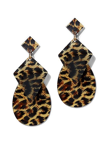 Plus Size Leopard Drop Statement Earring - Fashion To Figure