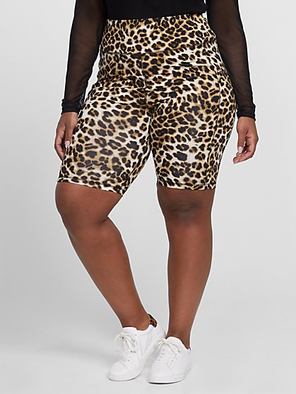 Plus Size Leopard Print Bike Shorts - Fashion To Figure