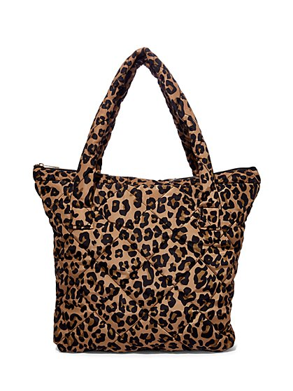 Plus Size Leopard Print Quilted Puffer Tote Bag - Fashion To Figure
