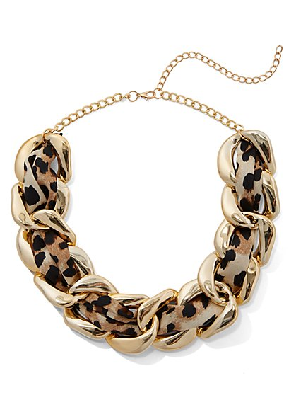 Plus Size Leopard Scarf Chain Necklace - Fashion To Figure