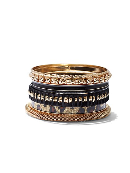 Plus Size Leopard and Gold-Tone Bangle Set - Fashion To Figure
