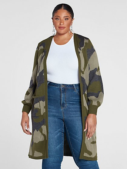 Plus Size Leslie Camo Cardigan Sweater - Fashion To Figure