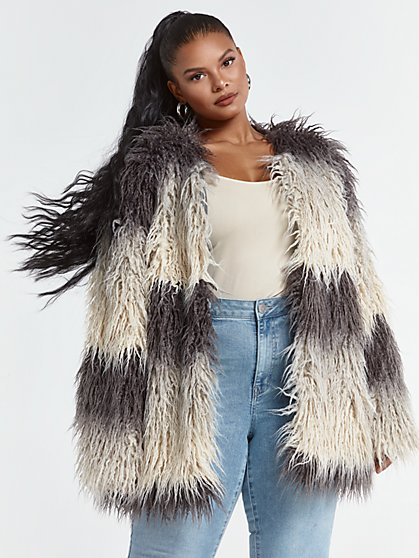 Plus Size Leticia Faux Fur Coat - Fashion To Figure
