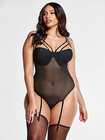 Plus Size Lexi Caged Bra Mesh Bodysuit with Garter Belt & Stockings - Fashion To Figure
