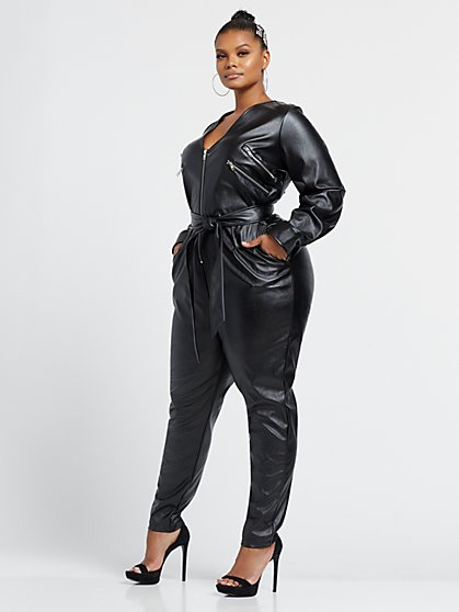 Plus Size Lia Faux-Leather Jumpsuit - Fashion To Figure