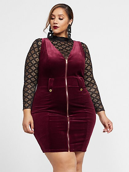 Plus Size Liana Zipper Front Velvet Dress - Fashion To Figure