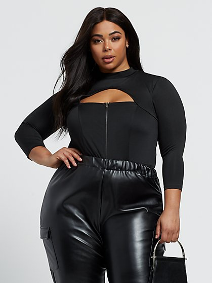 Plus Size Lida Zip-Front Cut-Out Top - Fashion To Figure